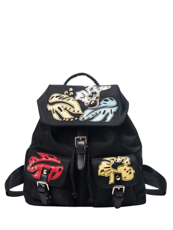 trendy Patches Rivet Nylon Backpack - BLACK