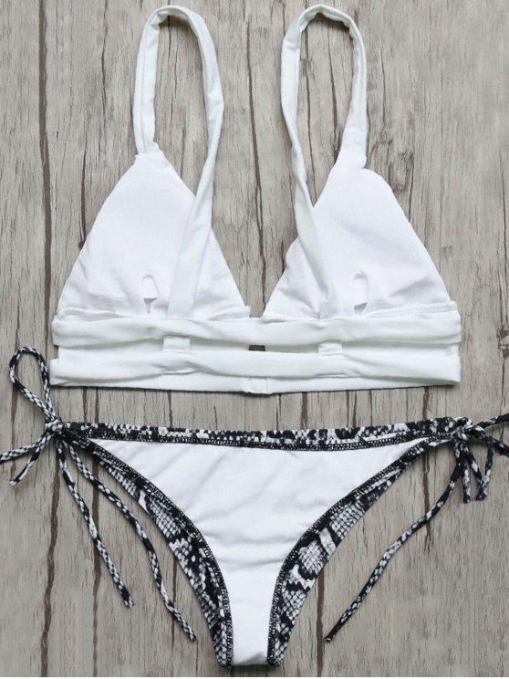 Bikini Diseño Serpiente Cuerdas Top Y Calzones - Azul y Blanco S