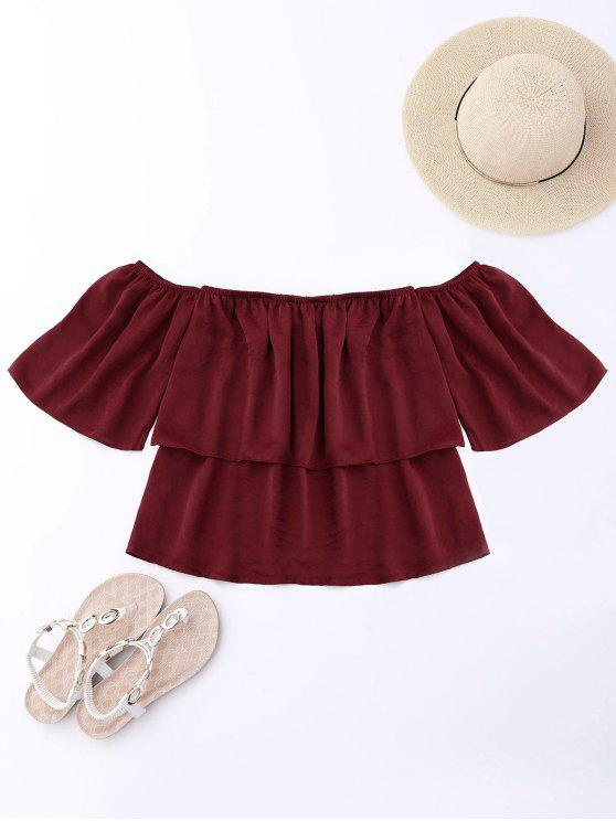 women Off Shoulder Ruffle Top - WINE RED XL