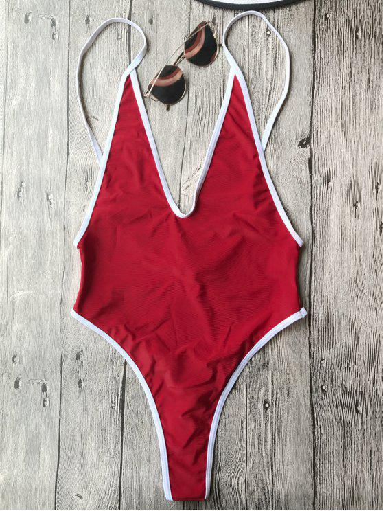 ladies Contrast Piping High Cut One Piece Swimsuit - RED L