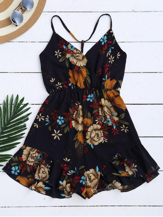 outfit Spaghetti Straps Caged Floral Romper - PURPLISH BLUE M