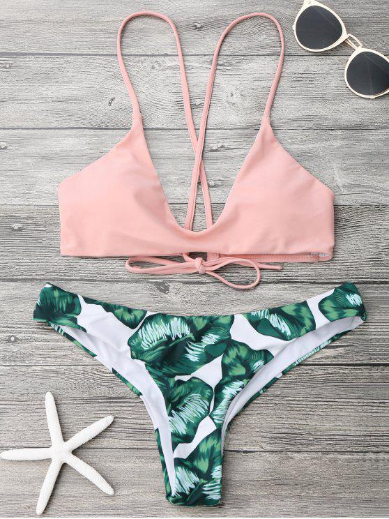 new Palm Leaf Cami Bralette Bikini Set - PINK AND GREEN L