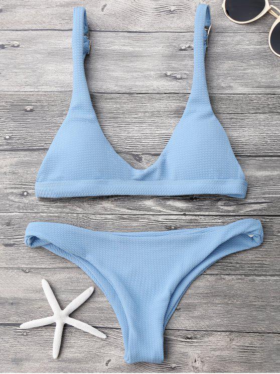 fancy Low Waisted Padded Scoop Bikini Set - LIGHT BLUE L