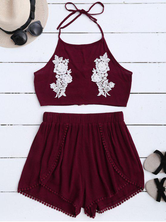 ladies Lace Floral Halter Crop Top and Shorts - WINE RED M