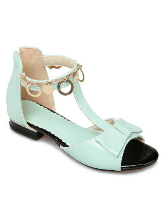 women's T Strap Metal Ring Sandals - LIGHT GREEN 38