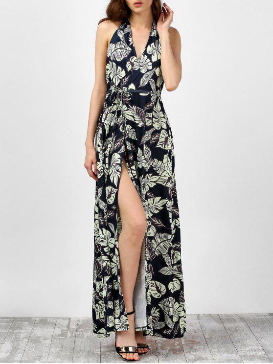 الرسن ليف هاواي طباعة عالية الشق عارية الذراعين فستان ماكسي - أسود XL