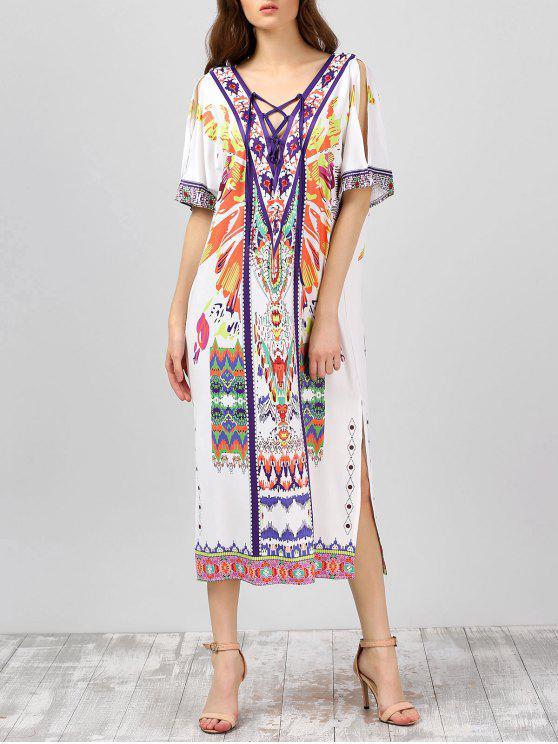 فستان رباط طباعة جانب الانقسام - أبيض مقاس واحد