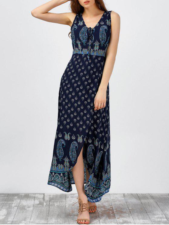 فستان طباعة كهنوتي شاطئ ماكسي صيف - الأرجواني الأزرق XL
