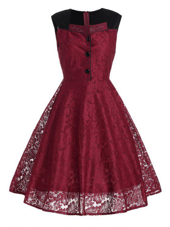 فستان السهرة قصير دانتيل رسمي - نبيذ أحمر 2XL