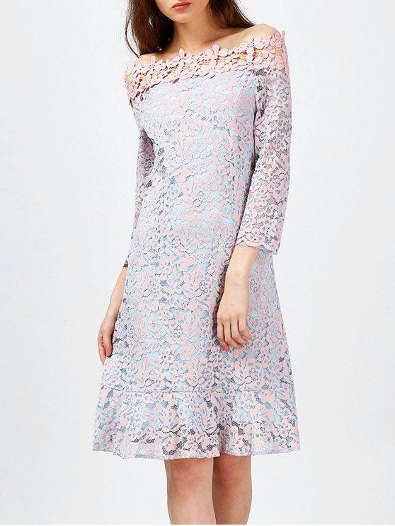 فستان بلا اكتاف دانتيل - زهري XL