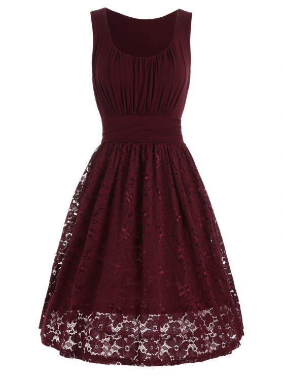 عالية الخصر الستارة الدانتيل لوحة اللباس - نبيذ أحمر XL