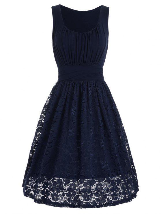 فستان ملائم وتوهج دانتيل انخفاض عالية الخصر - الأرجواني الأزرق L
