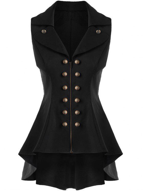 معطف الصدرية عالية انخفاض - أسود 2XL