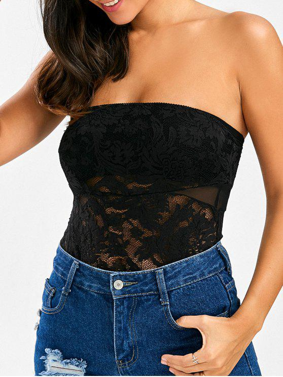 4e28bc501a 42% OFF  2019 See Through Lace Tube Top Bodysuit In BLACK