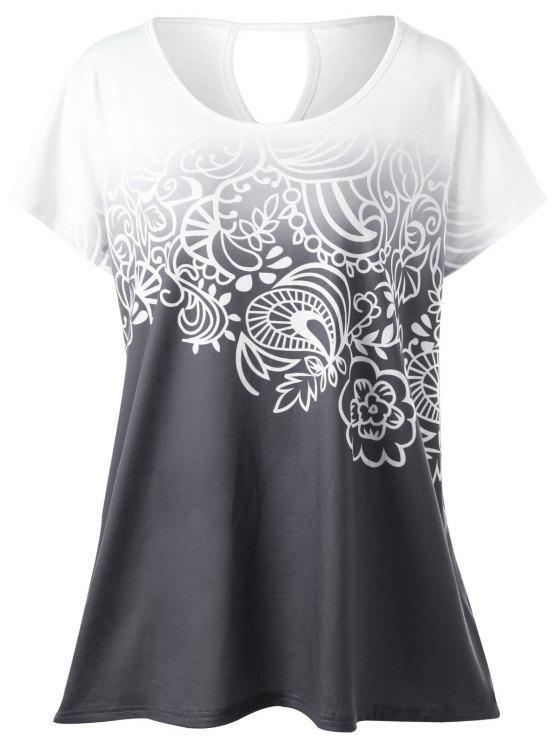 تيشيرت ذو مقاس كبير بطبعة أزهار - أبيض رمادي XL