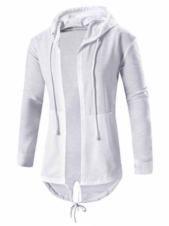 معطف عالية انخفاض بقلنسوة مفتوحة الجبهة - أبيض XL