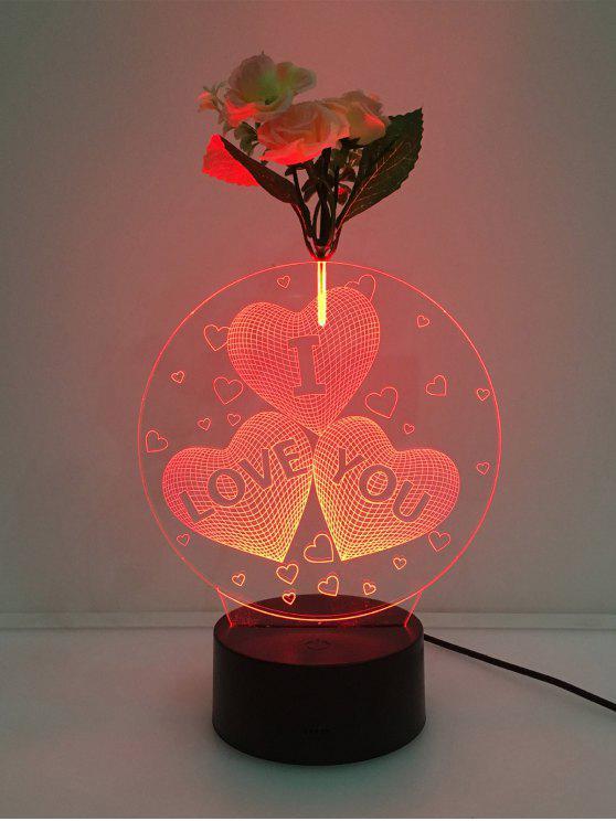 زهرة مزينة 3d القلب أحبك الصمام تغيير لون ضوء الليل - شفاف