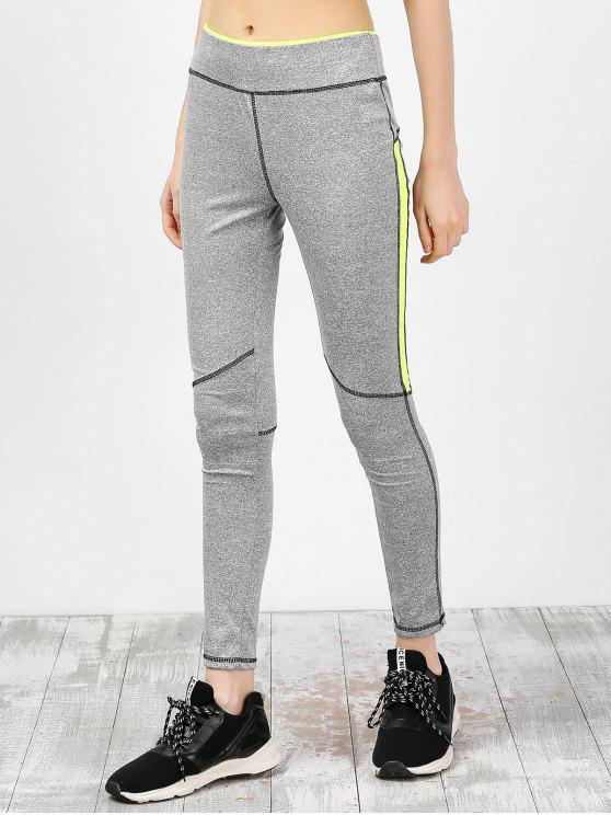 latest High Waist Ankle Length Gym Leggings - GRAY M