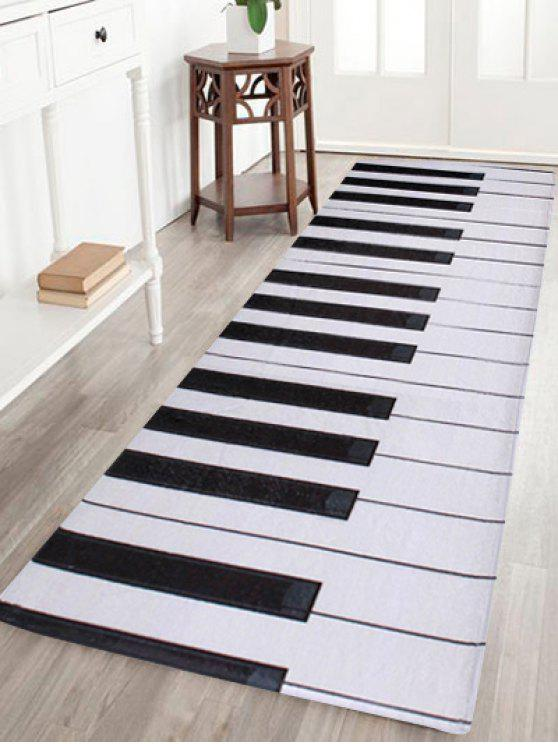 Trendy Coral Velvet Piano Keyboard Bathroom Area Rug   BLACK WHITE W16 INCH  * L47 INCH