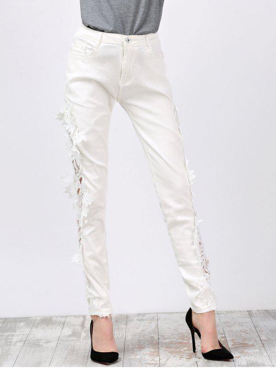 Lace Insert Skinny Pants Denim - Bianco 2XL