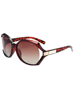 Wide Wrap Frame Polarized Sunglasses - Leopard+ Double Dark Brown