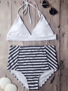 Conjunto De Bikini De Escote Halter Alto De Almohada Suave - Blanco L