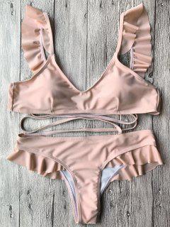 Ruffles Padded Bikini Set - Nude Pink S