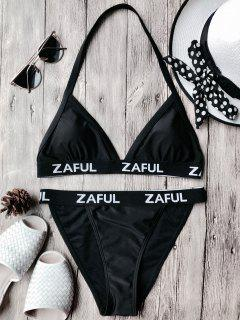 Halter Logo Band Thong Bikini Set - Black Xl