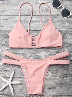 Lattice Banded Bralette Bathing Suit - Pink L