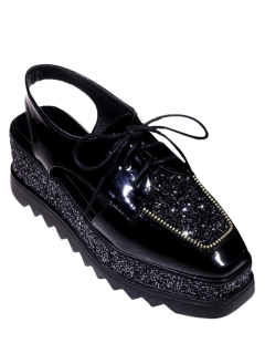 Square Toe Lace Up Sequins Platform Shoes - Black 38