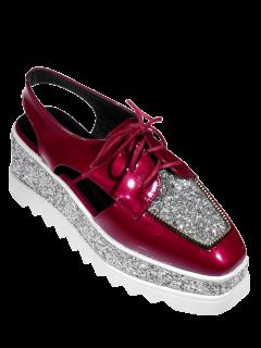 Square Toe Lace Up Sequins Platform Shoes - Deep Red 37