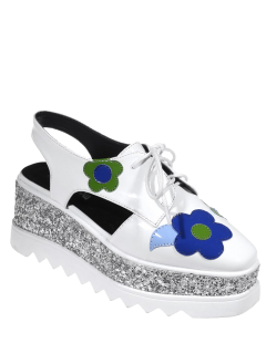 Flowers Sequins Square Toe Platform Shoes - White 38