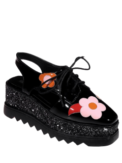 Flowers Sequins Square Toe Platform Shoes - Black 38