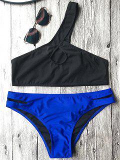 One Shoulder Cutout Bathing Suit - Blue And Black L