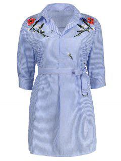 Floral Embroidered Striped Dress With Belt - Azure