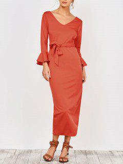 Slit Belted Prom Dress - Jacinth 2xl