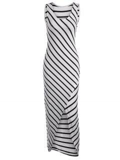 Asymmetric Striped Maxi Tank Dress - White Xl