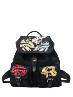 Patches Rivet Nylon Backpack - Black