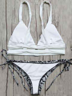 Plunge Bikini Top And Python Print Thong Bottoms - Blue And White M