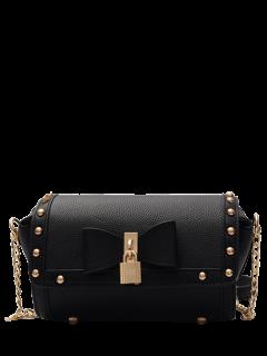 Chain Rivet Bowknot Crossbody Bag - Black