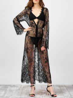 Sheer Lace Long Kimono Cover-Ups - Black 2xl