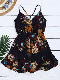 Spaghetti Straps Caged Floral Romper - Purplish Blue M