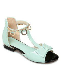 T Strap Metal Ring Sandals - Light Green 38