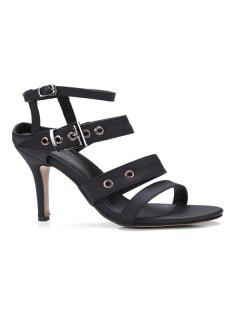 Faux Leather Eyelets Sandals - Black 37