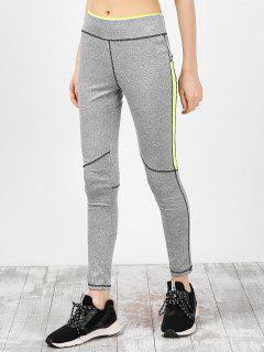 High Waist Ankle Length Gym Leggings - Gray M