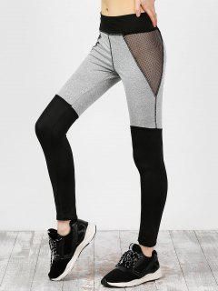 Mesh Insert Color Block Yoga Leggings - Black M