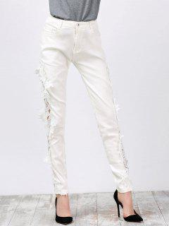 Lace Insert Skinny Denim Pants - White L