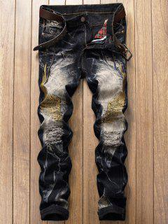 Vintage Wings Embroidery Ripped Jeans - Deep Blue 32