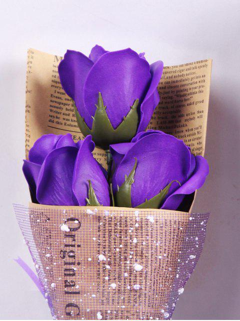 latest Festival Gift Simulation Rose Soap Flowers Bouquet - PURPLE  Mobile