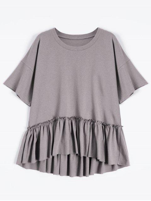 T-shirt à ourlet à volants à manches courtes - Gris Violet Taille Unique Mobile
